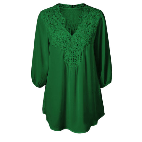 5XL Plus Size Tops Women Chiffon Blouse Shirt Lace Up Blouses V neck