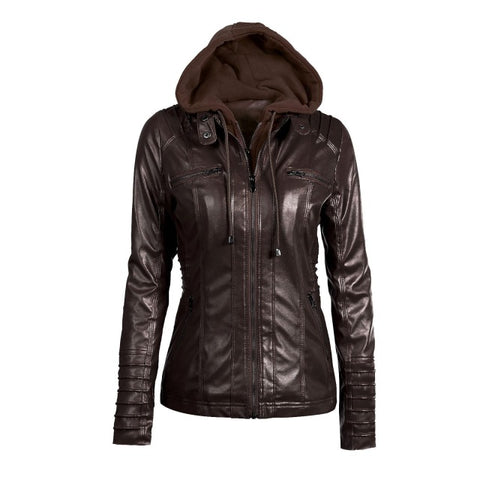 2018 New Women Autumn Winter Hooded Faux Leather Jacket Slim Motorcycle Hat Detachable Plus Size 5xl Pu Leather Coat - Happidtime