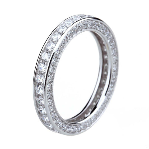925 Sterling Silver Ring Women Cubic Zirconia Engagement Band Female