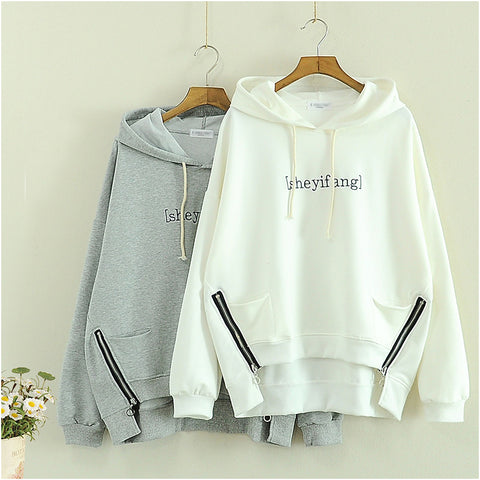 Women Embroidery Letter Gray White sweatshirts warm winter pullover vintage Hoodies Loose Long Sleeve Tracksuit