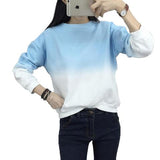 Women's Fashion T-shirt of Round Neck  gradually change