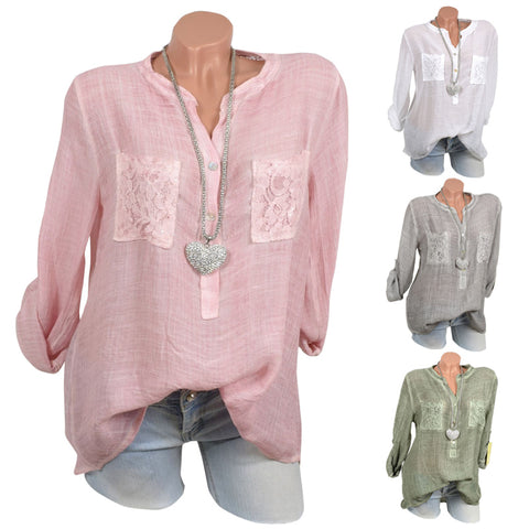 Women  Solid Color Tops Lace Patchwork Loose Shirts