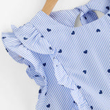 Women Ruffle Slim  Top Blue Round Neck Blouse