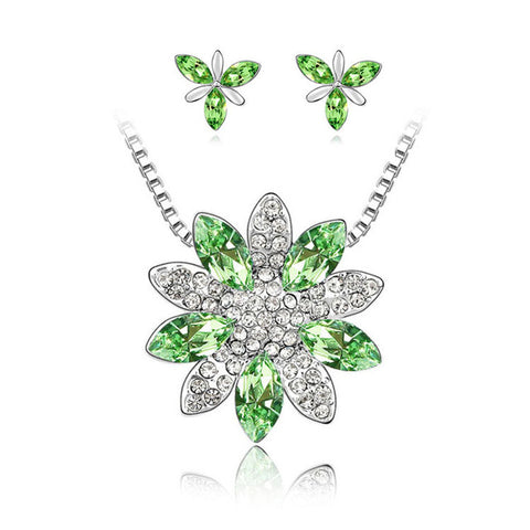 Fashion Snowflake austrian crystal nacklace earrings Jewelry schmuck Set