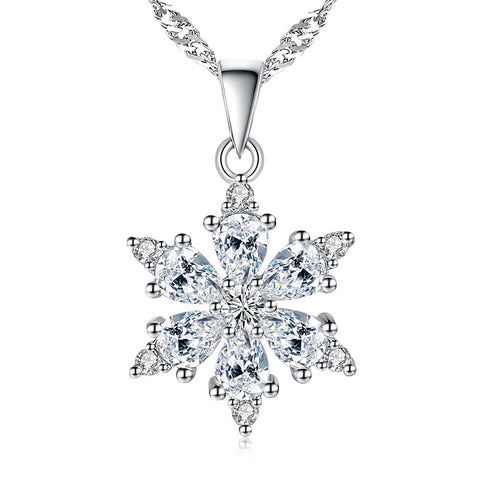 Crystal Tassel Collares Clear Cubic Zirconia  Snowflake Classic Pendants & Necklaces