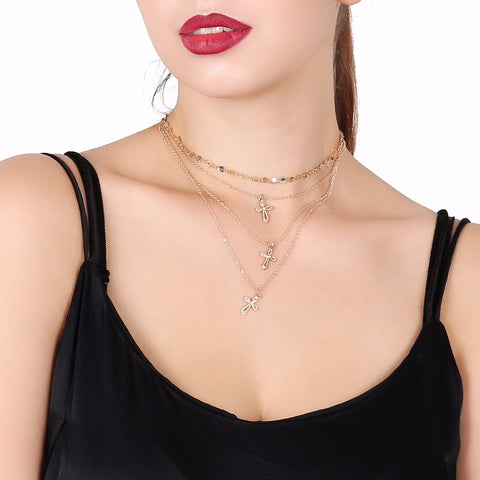 Cross multi-layered necklace fall new collarbone sweater necklace