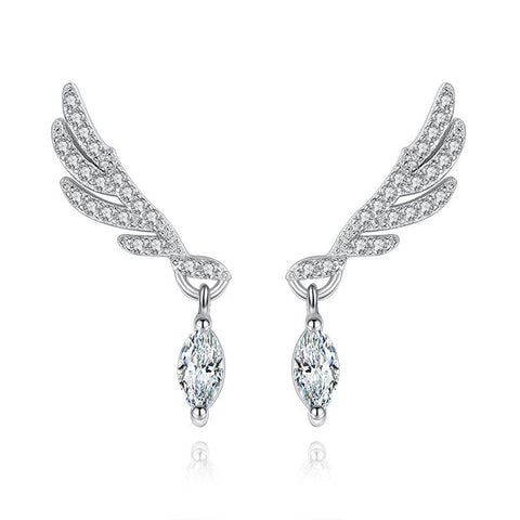 Fashion Statement Angel Wings Stud Earrings For Women Girls Clear Cubic Zirconia Crystal White Gold Color Tassel Korean Jewelry