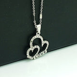 Fashion White Rhinestone Double Heart Mix Love Letter Floating Pendant Necklace