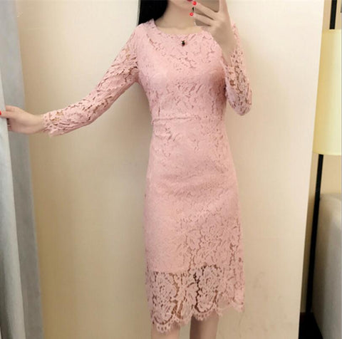 Elegant Wedding Party Women Pink Sexy Night Club Pencil Dresses 2017 O-Neck Long Sleeve Sheath Bodycon Lace Dress Vestidos - Happidtime