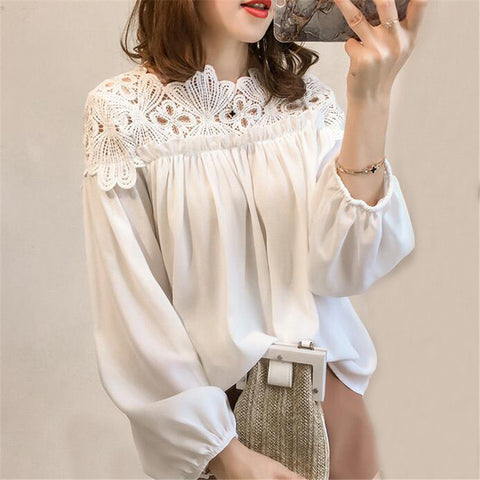 Women Chiffon Blouse Tops Loose White Lace