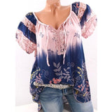 Women Blouses Hollow Out Lace Splice Blouse