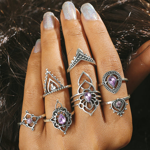 7pcs/set  Antique Silver Color Purple Heart Crystal Flower Boho Knuckle Ring For Women