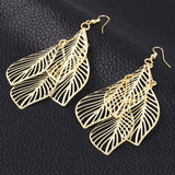 Women Simple Hollow Leaves Geometric Metal Jewelry Earrings