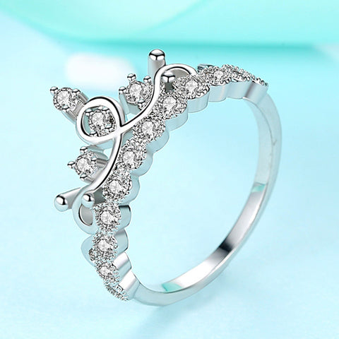 Fashion Silver Color Crystal Cubic Zirconia Crown Rings For Women