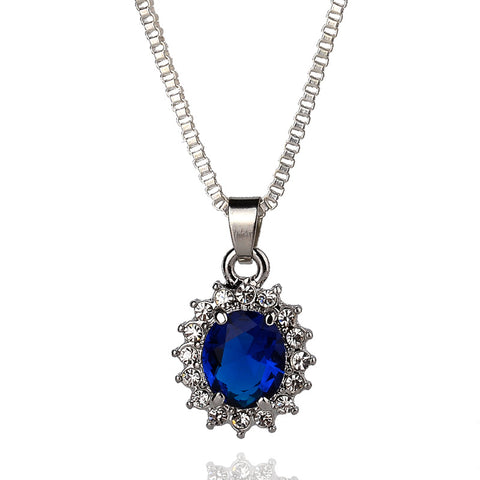 Fashion Crystal Pendant Necklace Women Rhinestones Costume Jewelry