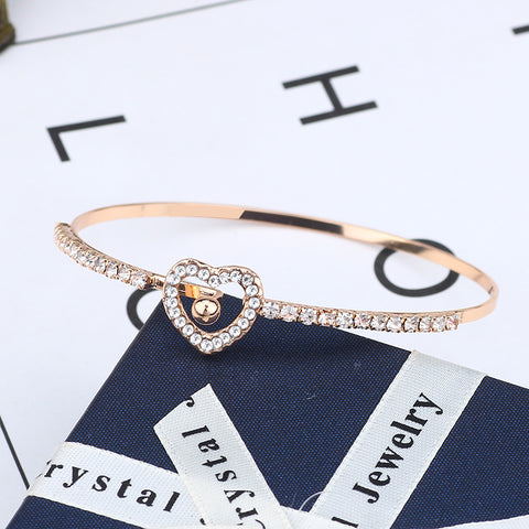Fashion White Rhinestone Love Heart Bracelets