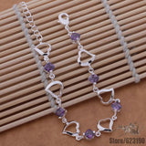 925- sterling -silver fashion jewelry Heart with purple stone bracelet