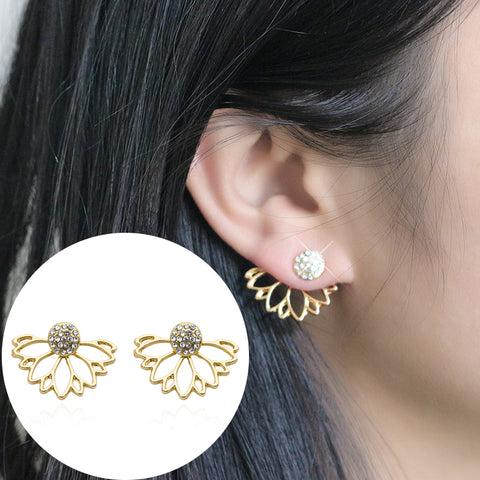 Trendy Lotus Earrings For Women Girls Crystal Hollow Flower Stud Earrings Simple Double Sided Gold Silver Color Earings Brincos