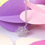 Charming Trendy  Rhinestone Silver Color Snowflake Sweater Necklace