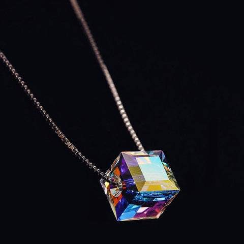 Fashion Aurora Candy  Crystal Love Box Pendant Silver Plated Chain Necklace