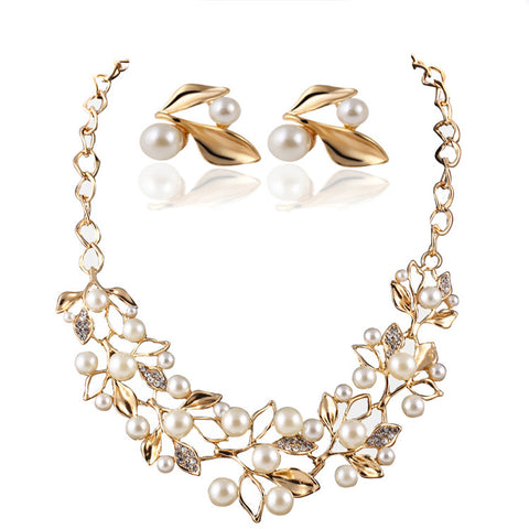 Fashion delicate Occident Style hyperbole Multilayer Simulated pearl  Jewelry Set