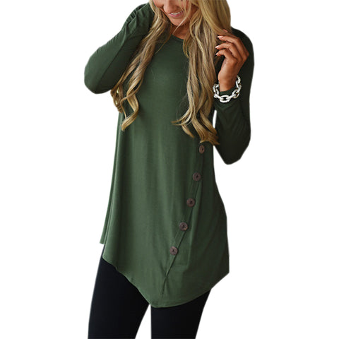 Tunic Shirt Autumn Winter Women Long Sleeve Shirts Loose Botton Solid Blusas Top Plus Size