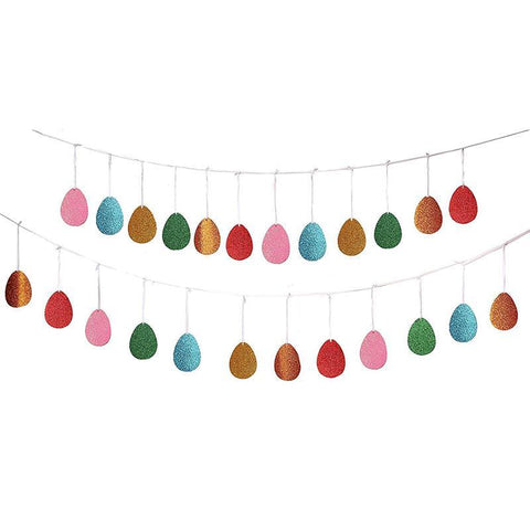Glitter Easter Egg Banners Garland Ribbon -- Party Decorations Ornaments Supplies - Happidtime