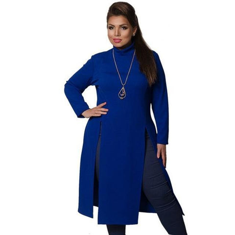 2017 Winter Women Dress Plus Size Women Clothing Long Sleeve High Slit T shirt Dress Maxi Tops 6XL Simple Dress Large Vestidos - Happidtime