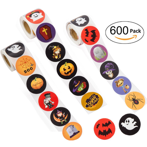 600 PCS Halloween Stickers Labels Roll - Pumpkin Bats Spiders Witch Party Decorations Favors Gifts Supplies - Happidtime