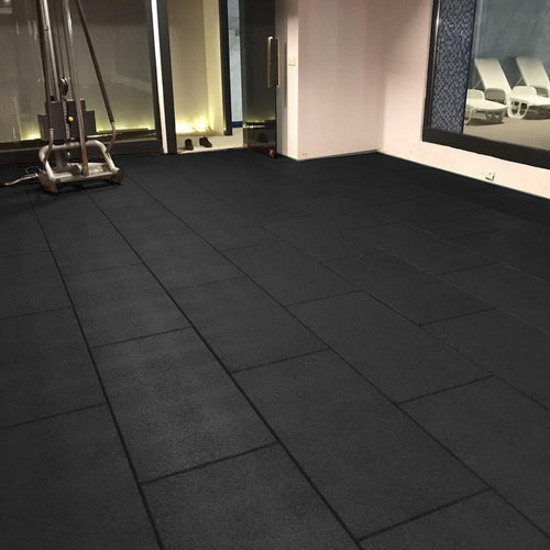 Flatline BeFit Black Rubber Gym Flooring 1m x 50cm x 20mm