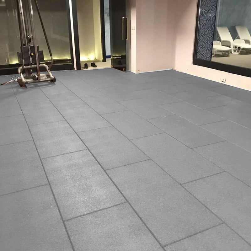 Grey Rubber Gym Tiles 1 Meter by 50cm by 20cm in depth