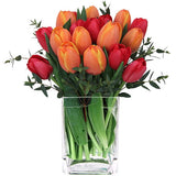 Bright red and orange tulips