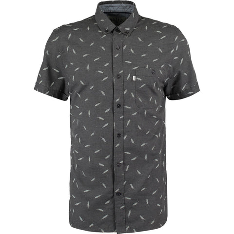 Croxley - Short Sleeve Grey Feather Patterned Shirt