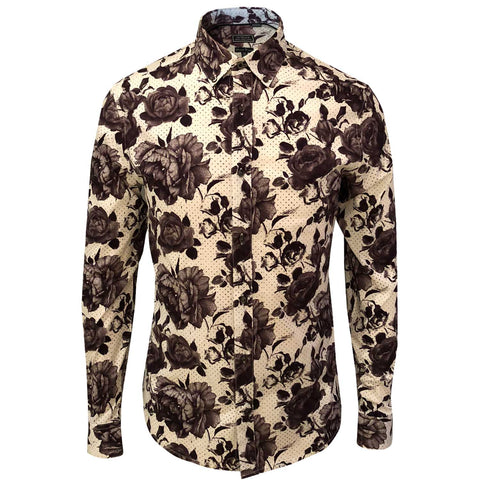 OUTRAGE - ALL OVER PRINT LONG SLEEVE SHIRT (ROSE DOT)