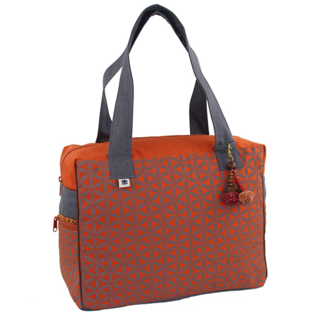 Flower of Life Retreat Bag Terracotta/Grey - Global Groove (B)