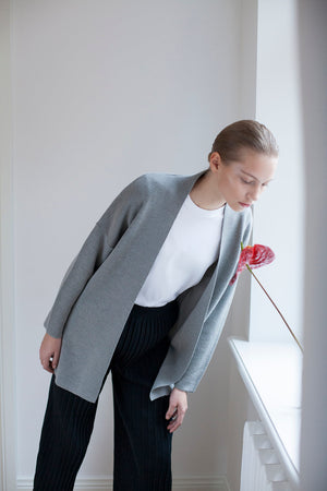 The New Long Merino Cardigan - Melange Grey