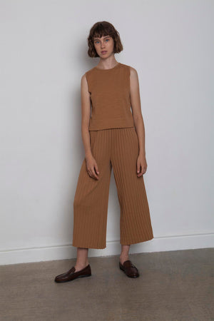 Linen Pleated Pants - Caramel