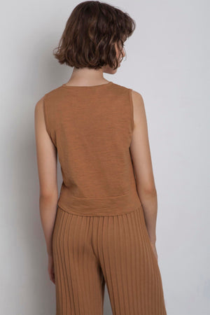 Linen Sleeveless Top - Caramel