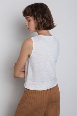 Linen Sleeveless Top - Off White