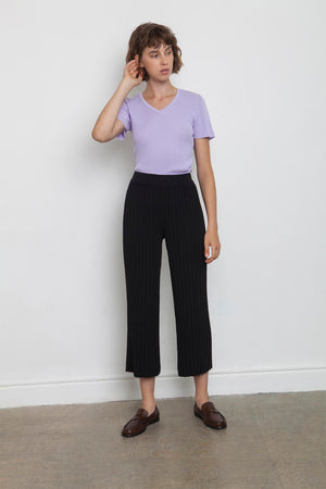 Linen Pleated Pants - Black