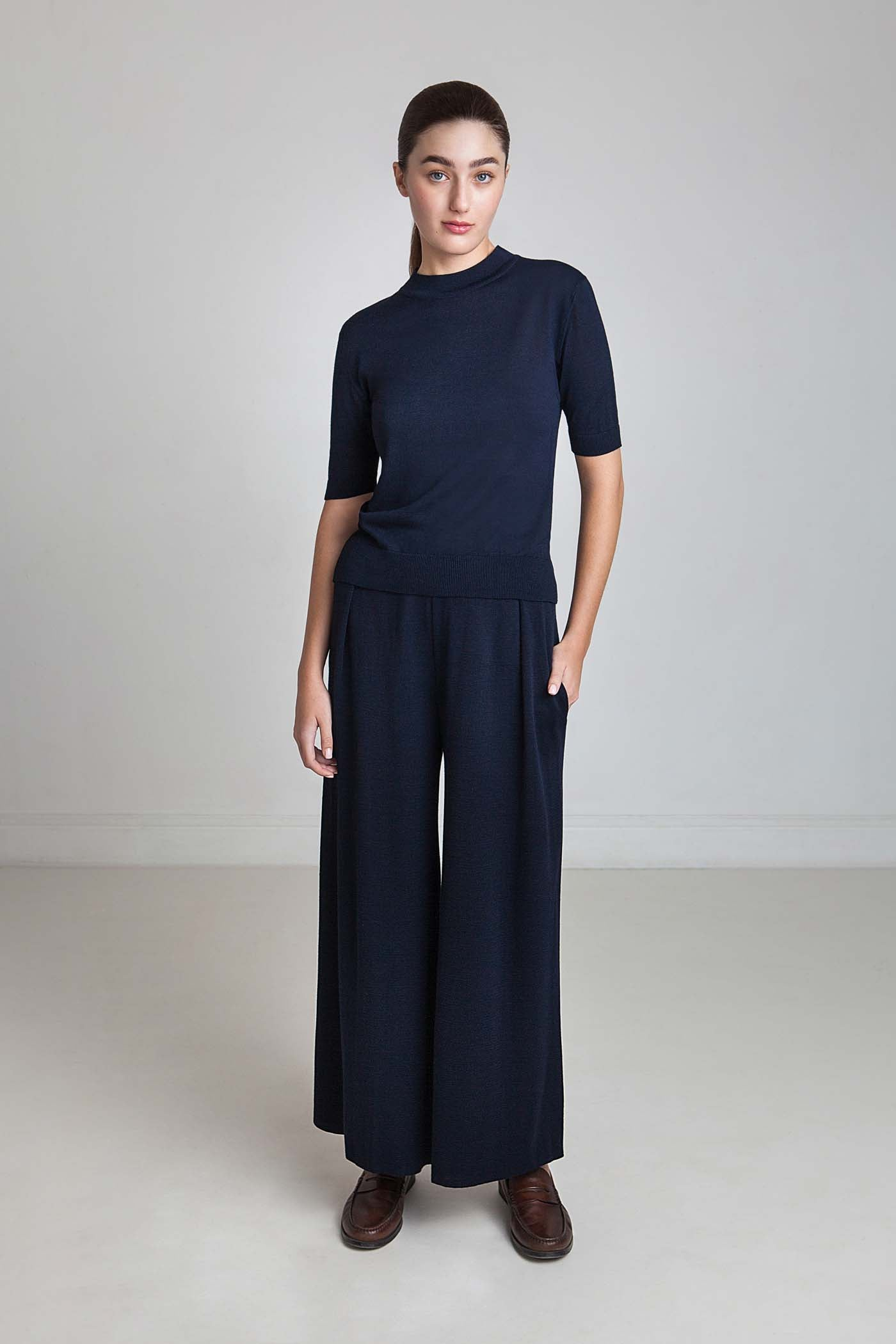 Wide Viscrepe Pants - Midnight