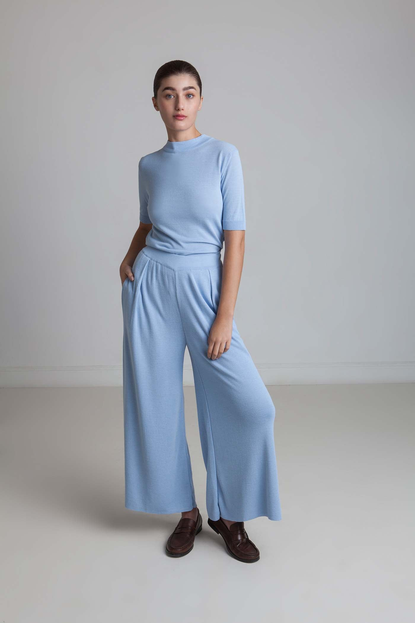 Wide Viscrepe Pants - Sky Blue