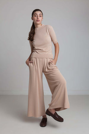 Wide Viscrepe Pants - Champagne