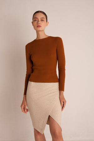 Linen Wrap Skirt - Flax