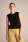 Linen Sleeveless Top - Black