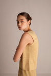 Linen Sleeveless Top - Straw