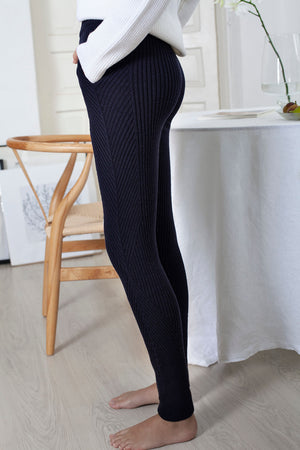 Ribbed Angles Pants - Midnight
