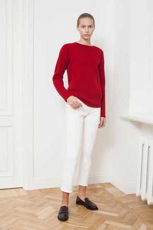 The New Fisherman's Rib Merino Sweater - Crimson