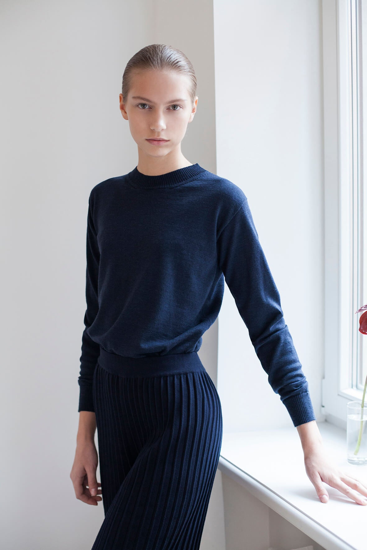 Pleated Pants - Navy