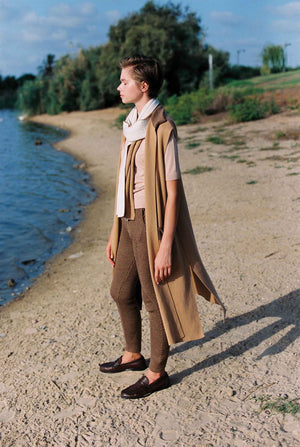 Ribbed Angles Pants - Walnut